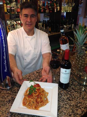 Nicola Salerno at Italia Nostra, with the 3 course lunch offer of Spaghetti ai Calamari